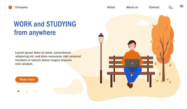 Plantilla de página web con hombre trabajando o estudiando con una computadora portátil en el parque. fondo del parque de la ciudad de otoño. ilustración de concepto de estudio y trabajo independiente, remoto.