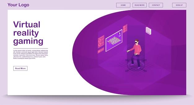 Plantilla de página web de juegos de realidad virtual con ilustración isométrica