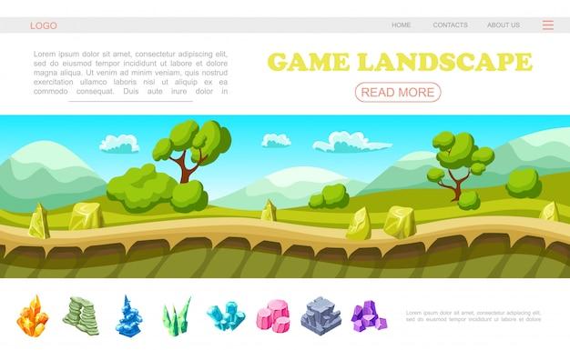 Plantilla de página web de paisaje de juego isométrico con hermosos paisajes de naturaleza de verano árboles arbustos nubes montañas piedras minerales