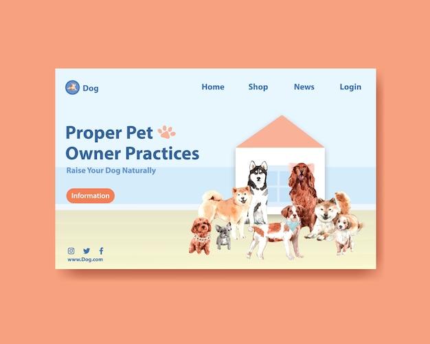 Plantilla de página web de perro acuarela