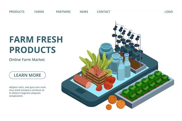 Plantilla de página web de productos agrícolas en línea. isométrico orgánico verde, frutas, productos lácteos, carne en el diseño de aterrizaje del teléfono