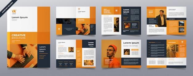 Plantilla de páginas de folleto comercial naranja