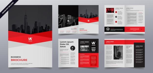 Plantilla de páginas de folleto comercial rojo negro