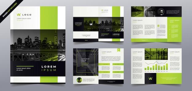 Plantilla de páginas de folleto de negocios verdes