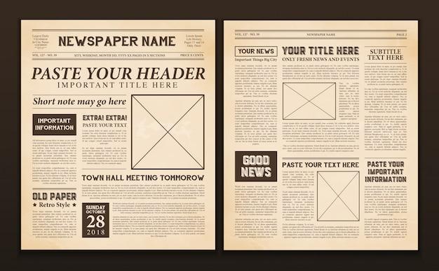 Plantilla de páginas de periódico vintage