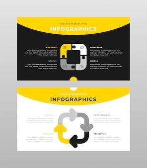 Plantilla de páginas de presentación de power point de color amarillo gris y negro concepto de infografía empresarial