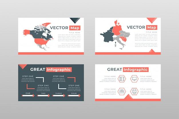 Plantilla de páginas de presentación de power point de mapas de color gris rojo