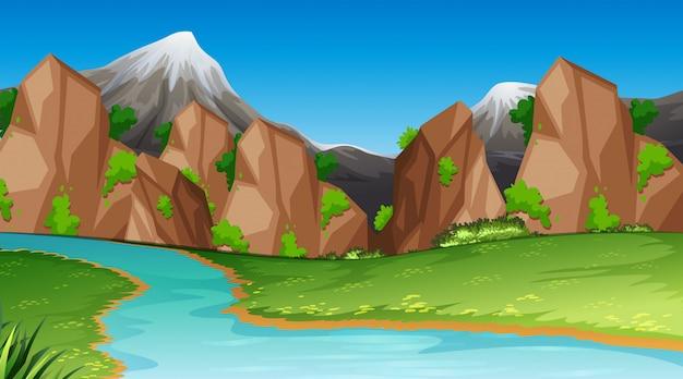 Plantilla de paisaje de escena de naturaleza