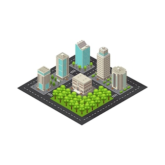 Plantilla de paisaje isométrico de la ciudad