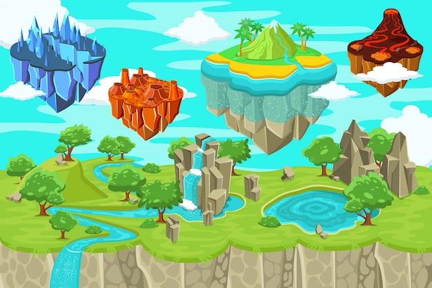 Plantilla de paisaje de naturaleza de juego isométrico