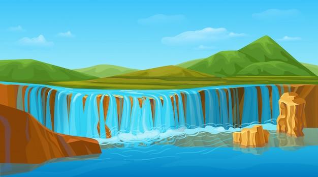 Plantilla de paisaje de naturaleza de verano colorido de dibujos animados
