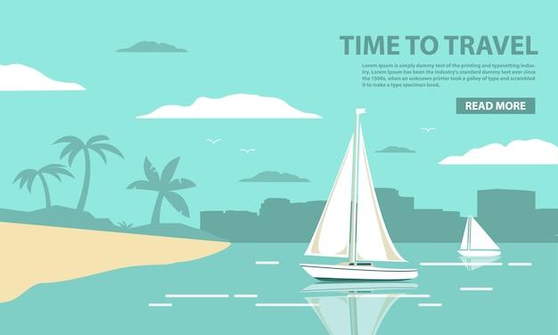 Plantilla de paisaje tropical con el yate de vela y la playa de arena con palmeras