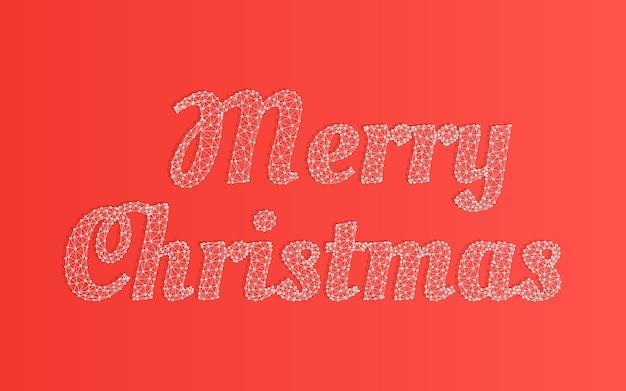 Plantilla de palabras feliz navidad, malla poligonal de malla metálica