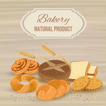 Plantilla de pan con producto natural de panadería
