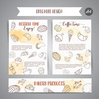 Plantilla de panadería cartel con pasteles.