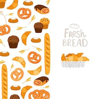 Plantilla de panadería pastelería, pan fresco, ilustración de magdalenas