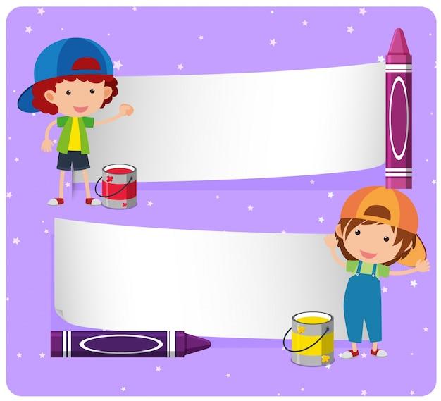 Plantilla de pancarta con niños y crayones