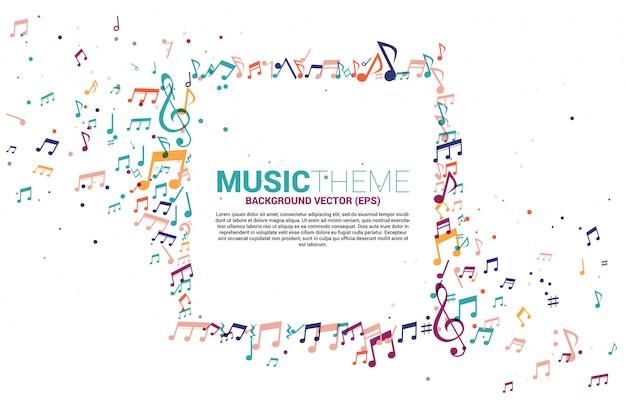Plantilla pancarta y póster colorido música melodía nota baile flujo.