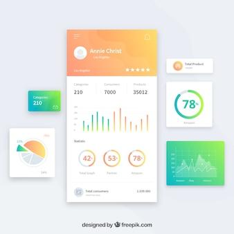 Plantilla de panel de administrador de app con diseño plano