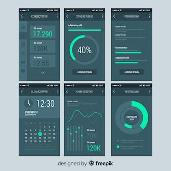 Plantilla de panel de control de aplicación para móvil