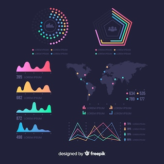 Plantilla de panel de estadísticas de infografía