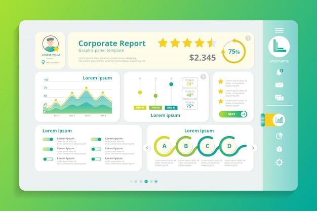Plantilla de panel de infografía de informe corporativo