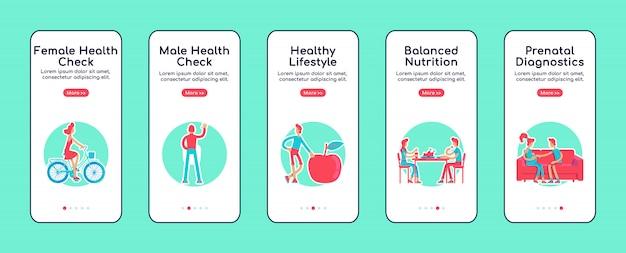 Plantilla de pantalla de la aplicación móvil de incorporación de controles de salud femeninos y masculinos