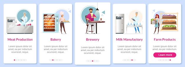 Plantilla de pantalla de aplicación móvil de incorporación de producción. carne, leche y productos agrícolas. panadería. cervecería. paso a paso del sitio web con personajes. concepto de interfaz de dibujos animados de teléfonos inteligentes ux, ui, gui