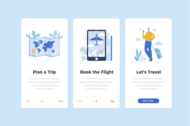 Plantilla de pantalla de incorporación de aplicaciones de viaje
