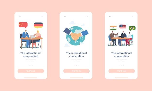Plantilla de pantalla incorporada de la página de la aplicación móvil de cooperación internacional. personajes de los delegados que resuelven problemas mundiales, negociación, diplomacia, reunión en el concepto de mesa redonda. ilustración de vector de gente de dibujos animados