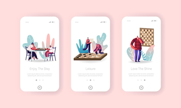 Plantilla de pantalla incorporada de la página de la aplicación móvil de personas jugando al ajedrez.