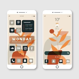 Plantilla de pantalla de inicio en colores pastel para smartphone