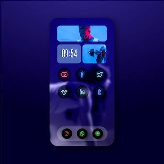 Plantilla de pantalla de inicio de neón para teléfono inteligente