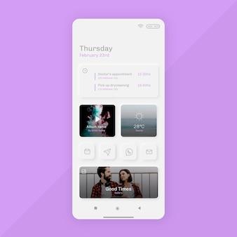 Plantilla de pantalla de inicio de neumorph para smartphone