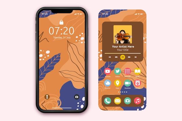 Plantilla de pantalla de inicio orgánica para smartphone