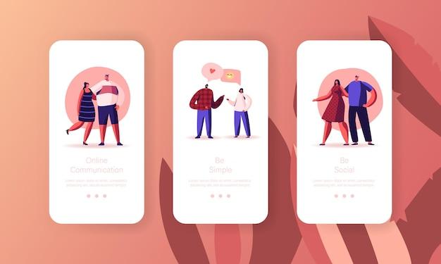 Plantilla de pantalla integrada de la página de la aplicación móvil de citas web y chat de amor en línea