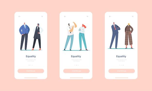 Plantilla de pantalla integrada de la página de la aplicación móvil equilibrio e igualdad de género. personajes de empresario y empresaria en igualdad de derechos, concepto de tolerancia de hombre y mujer. ilustración de vector de gente de dibujos animados