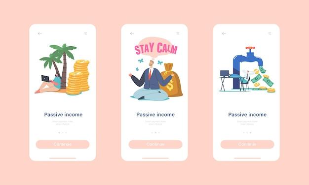 Plantilla de pantalla integrada de la página de la aplicación móvil de ingresos pasivos. pequeños personajes alrededor de enorme grifo con flujo de dinero. inversión bursátil, concepto de monetización en línea. ilustración de vector de gente de dibujos animados