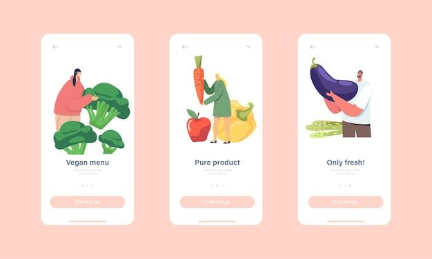 Plantilla de pantalla integrada de la página de la aplicación móvil del menú vegano. pequeños personajes visitan el bar de ensaladas. la gente come verduras en un buffet vegano. comida sana, concepto de nutrición de verduras. ilustración de vector de gente de dibujos animados