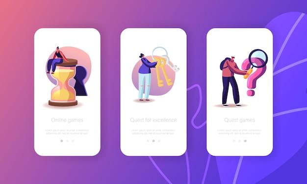 Plantilla de pantalla integrada de la página de la aplicación móvil room escape conundrum