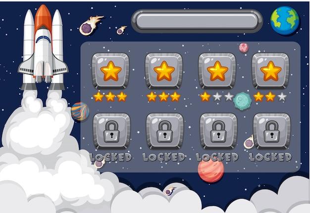 Plantilla de pantalla para juego de computadora con nave espacial en el espacio