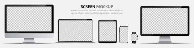 Plantilla de pantalla. monitores de computadora, computadora portátil, tableta, teléfono inteligente y reloj inteligente con pantalla en blanco