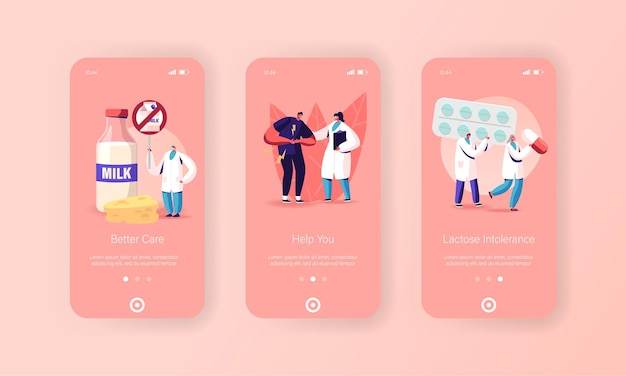 Plantilla de pantalla de la página de la aplicación móvil de intolerancia a la lactosa. carácter y médicos.
