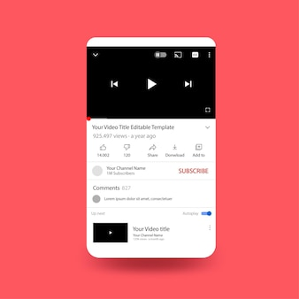 Plantilla de pantalla de teléfono de youtube con diseño plano