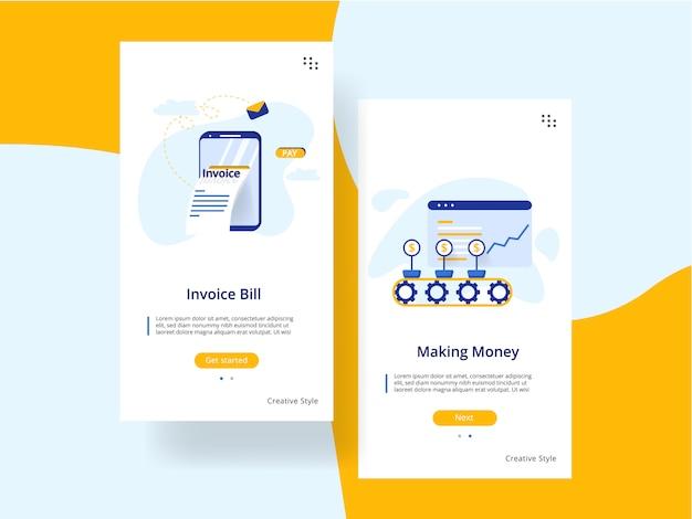 Plantilla de pantallas de incorporación de sitios web. ganar dinero, concepto de factura factura.