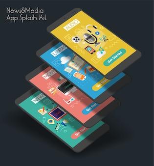 Plantilla de pantallas de presentación de aplicaciones móviles ui de fuentes multimedia receptivas con ilustraciones de moda