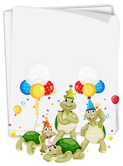 Plantilla de papel con animales lindos en tema de fiesta.