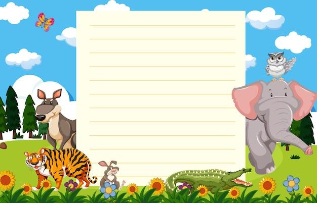 Plantilla de papel con animales salvajes en jardín.