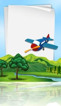 Plantilla de papel con avión volando sobre el río