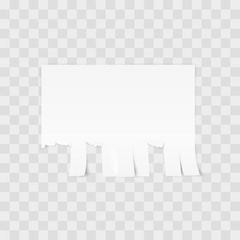 Plantilla de papel desprendible de publicidad blanca sobre fondo blanco